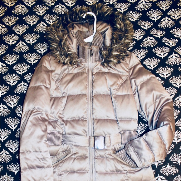 new images of soft and light crazy price DKNY SILVER DOWN JACKET W/FAUX FUR HOOD AND BUCKLE
